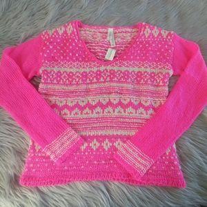 NWT Aeropostale Pink White Winter Knit Sweater M